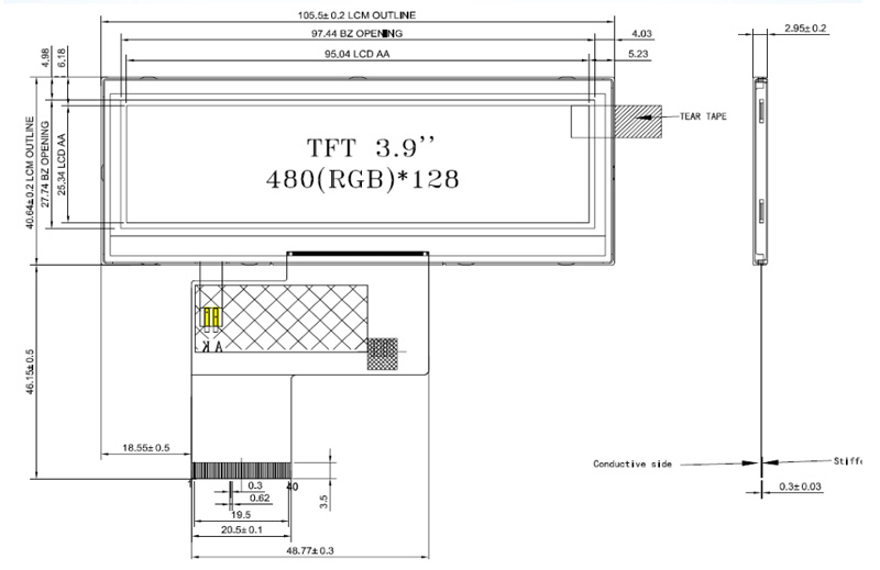 480x128 Ultra Wide Screen 3 9'' Tft Lcd Module With High Brightness - Buy  3 9'' Bar Lcd,Ultra Wide 3 9 Lcd,Ultra Wide Screen 3 9'' Tft Lcd Module