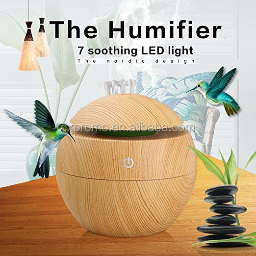 OEM available with led colorful light wood mini electric aromatherapy essential oil diffuser portable ultrasonic aroma diffuser