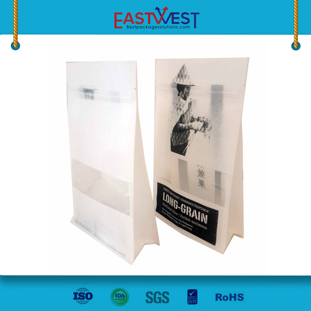 biodegradable waterproof Brown white <strong>Rice</strong> Paper Bag With Zipper And <strong>Rice</strong> Paper Stand Up Pouch customized package