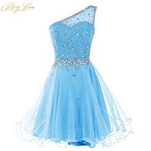 Berylove/платье для выпускного вечера с одним плечом; Модель 2020 года; Ярко-синее мини-платье из тюля с кристаллами и бусинами; Короткое платье дл...(Китай)