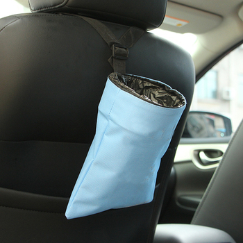 Sky Blue Polyester Hanging Luxury Trash Container Garbage Holder Car Rubbish Bin