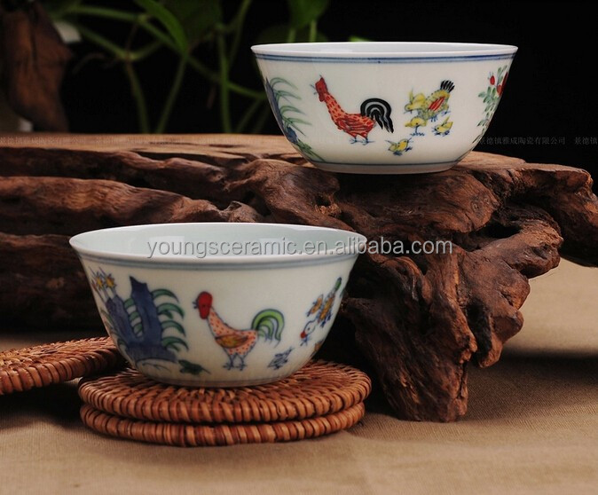Antique Ceramic Porcelain Ming Dynasty Chenghua Doucai Chicken Bowl
