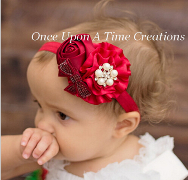 New Fashion Style Headwear Baby Girls Flower Headband Rose Pearl Hair Accessories Children Hair Bands Hats Hot Selling