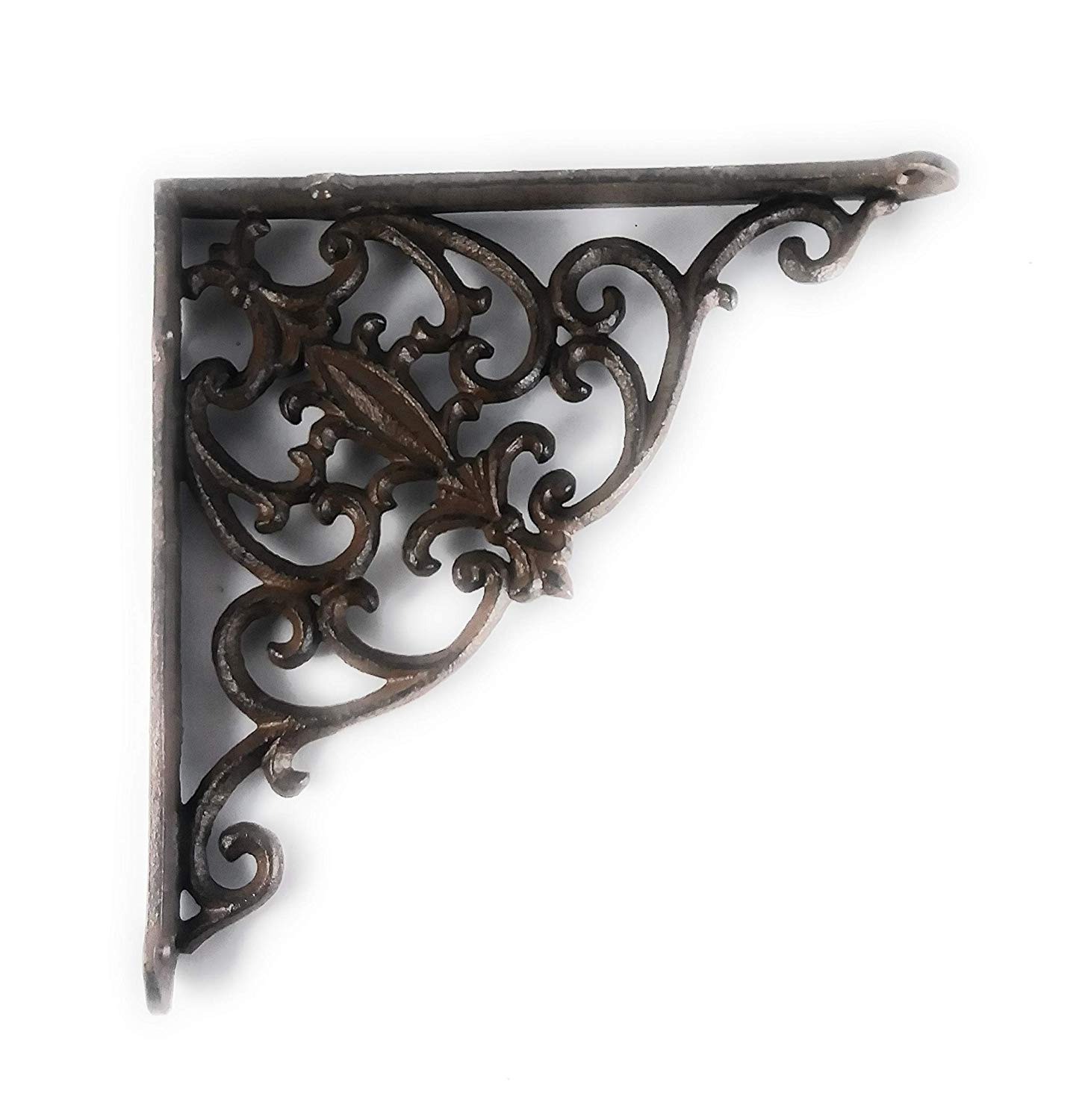 Aunt Chris' Products - Heavy Cast Iron Brown - 10 Inch - Thick Victorian Shelf Bracket - Scroll Design - All-Purpose Hanger - Dark Brown - Primitive Design - Indoor or Outdoor Use