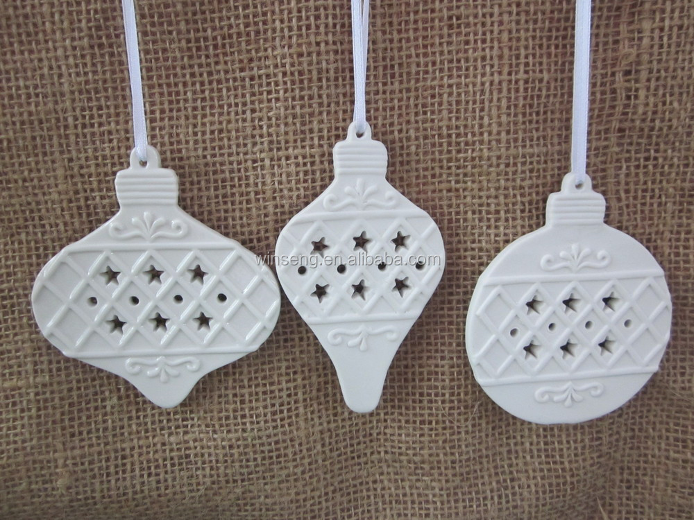 White Porcelain flat Xmas ball hanging Ornament