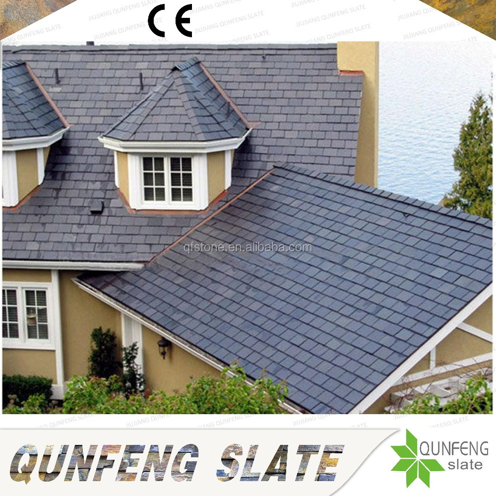 CE Passed Split Surface Erosion Resistance Antacid Cheap Nature Black Stone Slate Roof Tiles