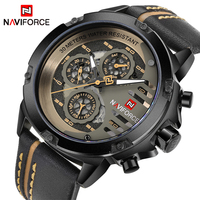 NAVIFORCE 9110 Mens Watches Top Brand Luxury 24 hour Date Quartz Man Leather Sport Wrist Watch Men Waterproof Clock