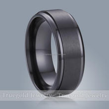 Hot selling 6mm Brushed black zirconium men ring,ring