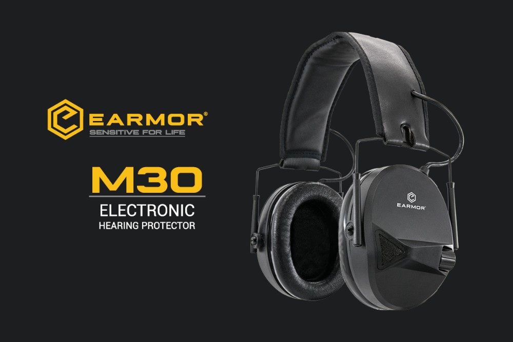 OPSMEN EARMOR M30 Sound Amplification Electronic Hearing Protector Range Shooting Hunting TAN Earmuff, with AUX Input, NRR22