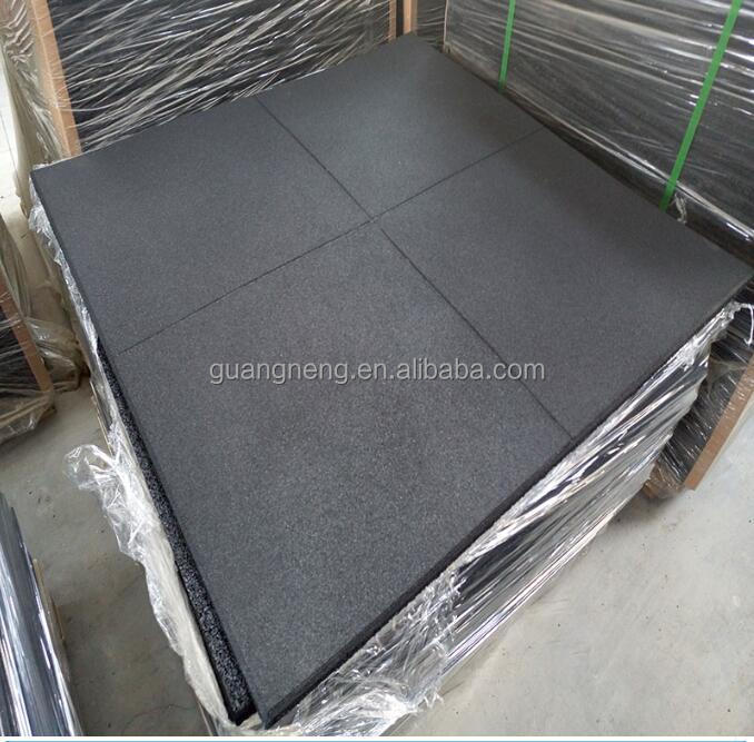 ANTI-SLIP BLACK EPDM SBR 1000mm*1000mm cheap rubber sport tiles gym flooring floor mat forpark home payground school manufacture