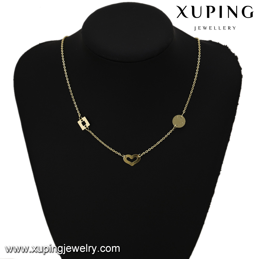 43432 xuping Environmental Copper 14k gold plated chains heart and round square necklace for women
