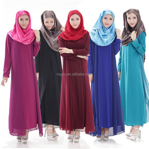 Wholesale Customized Muslim Women Abaya Mxi Dress Islamic Long Dress Plain Contrast Chiffon Long Ethic Clothing 5511