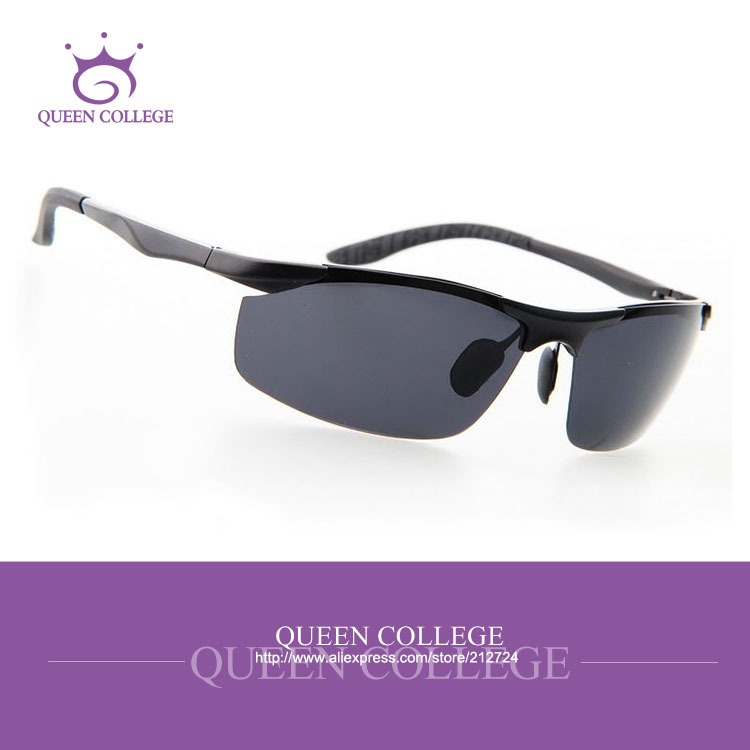 Queen College with Original case brand Al-Mg Alloy sport sunglasses men hot selling pop polarized lens Sun Glasses QC0130