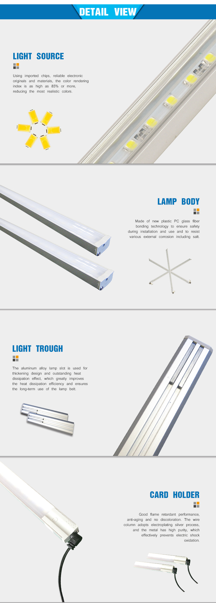 Linkable strobe SMD5050 led recessed cabinet light