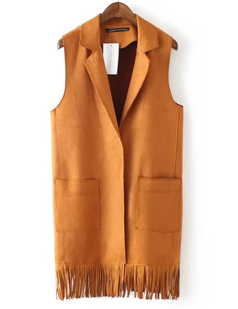 Sale Tassels Vest Womens Turn Down Collar Suede Vests ...