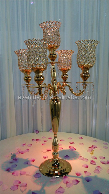 gold candelabra centerpiece , wedding crystal candelabra on sale