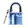WLOCK004 Lock Pick Set For Beginners & Professionals And Locksmith Picking Kit With Transparent Blue Practice Padlock