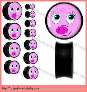 pig simple resin ear saddle gauges body piercing jewelry rings in black new design picture lovely new 2013 design