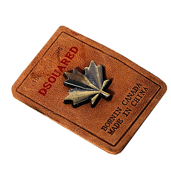 Customized Brand Name Fashion Special Metal Logo Real Leather Badge Patch Labels for Jeans