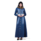 Zakiyyah ZK018 fashion new design denim fabric muslim islamic dress abaya long sleeves for women