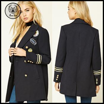2016 Women 100% Cotton Long Navy Blue Winter Military Jacket ... f323b9478bc