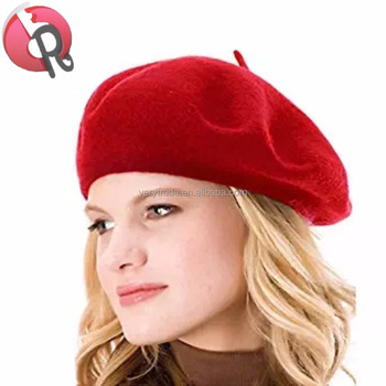 a508a77bcbb86 French Beret-100% Wool Solid Color Womens Beanie Cap Red Hat ...