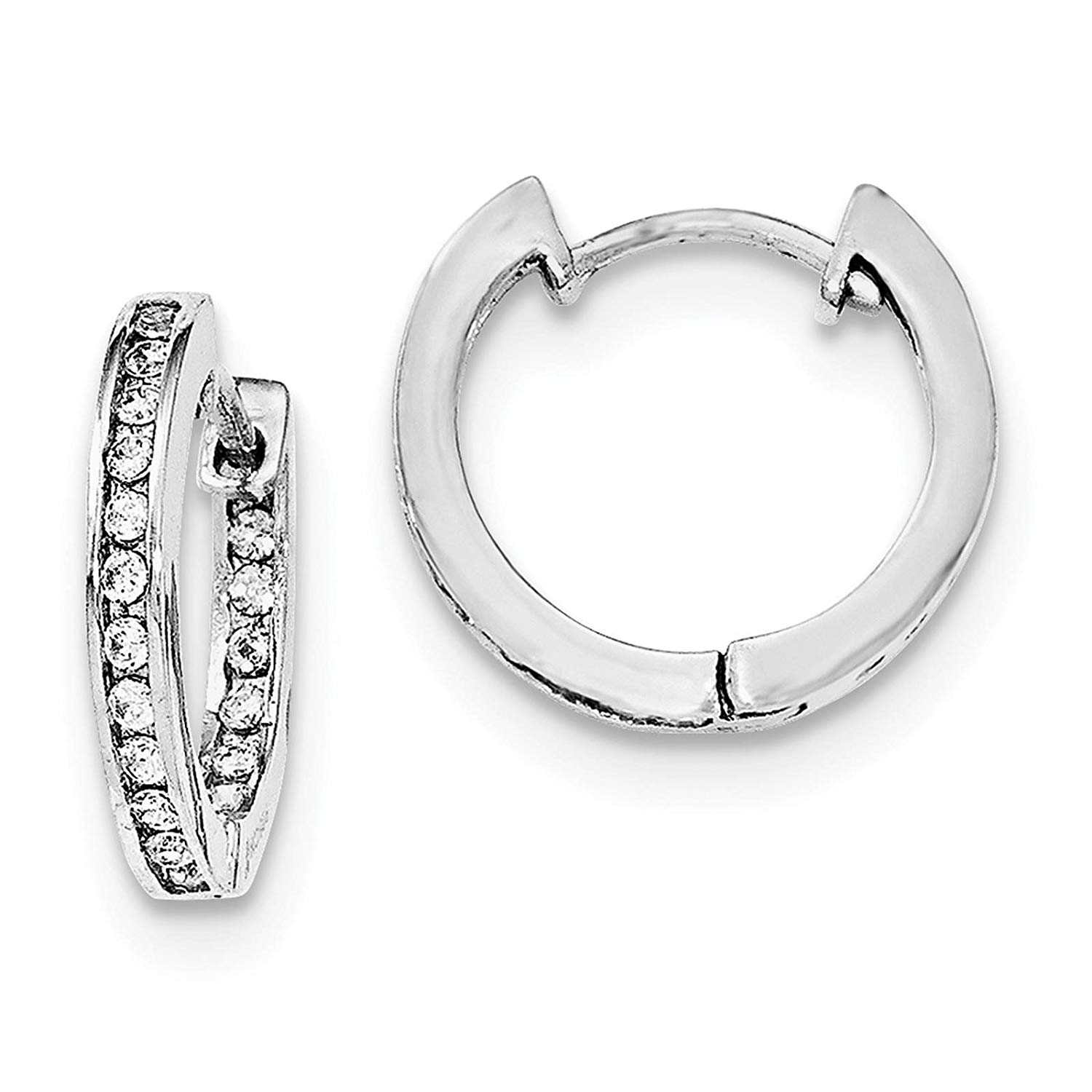 925 Sterling Silver Rhodium-plated CZ In /& Out Hoop Earrings 3mm x 30mm by 925 Sterling Shimmer