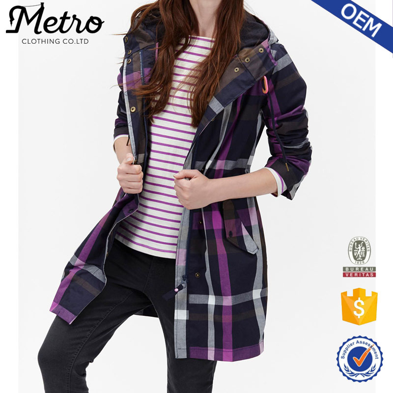 Best Price high quality fastening grid women extra long coat girls