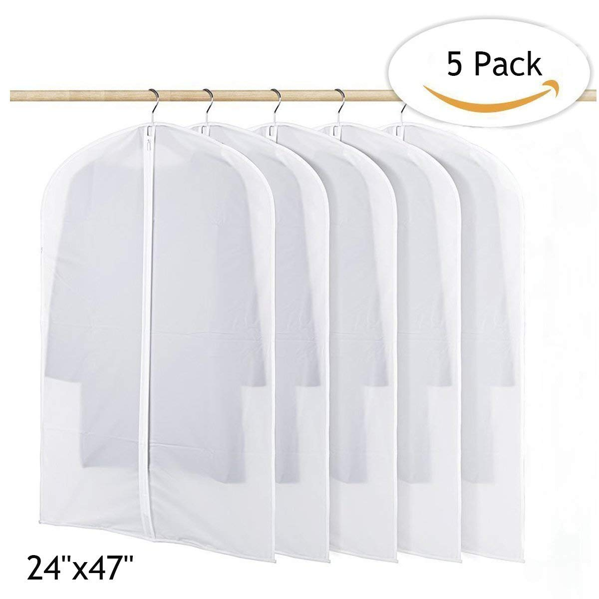 Belovelife Garment Bag, Lightweight Suit Bags Moth-proof with Study Full Zipper for Closet Storage and Travel Pack of 5