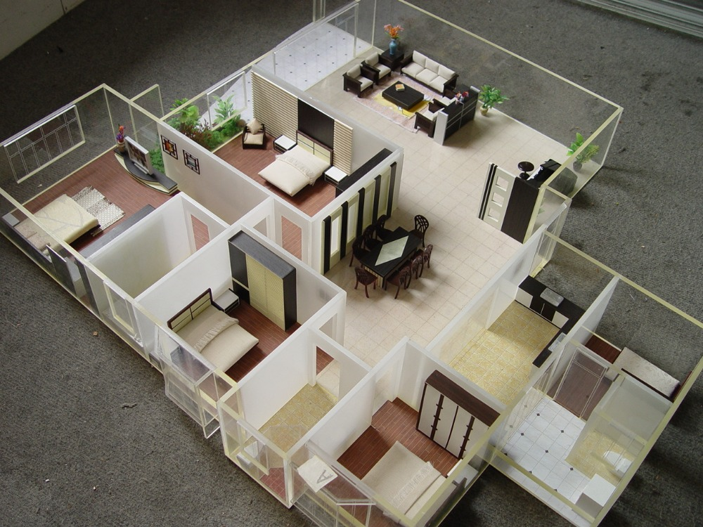 House plan internal layout model with all furniture scale Building model homes