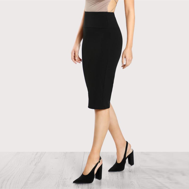 b6f13dbf8 Sheinside Office Ladies Black Pencil Skirt Mid Elastic Waist Knee Length  Plain Skirt Women Work Wear Elegant Autumn Skirt