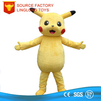 kawaii soft plush mascot halloween walking doll costume pikachu pokemon mascot costume for adults