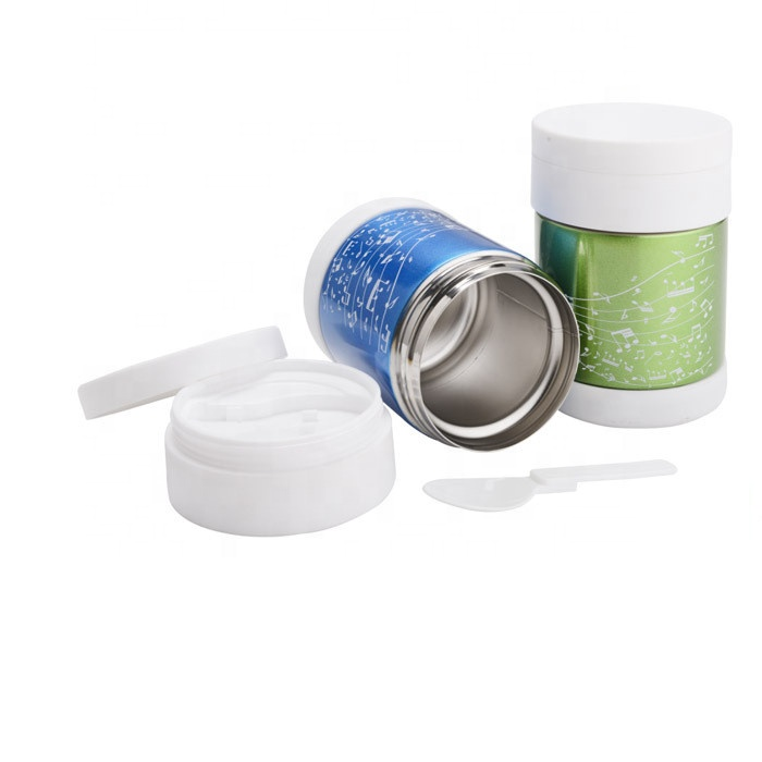 Portable double wall stainless steel food jar cookie container