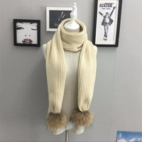 Unique Knitted Long Winter Scarf with Two Real Raccoon Fur Pompoms