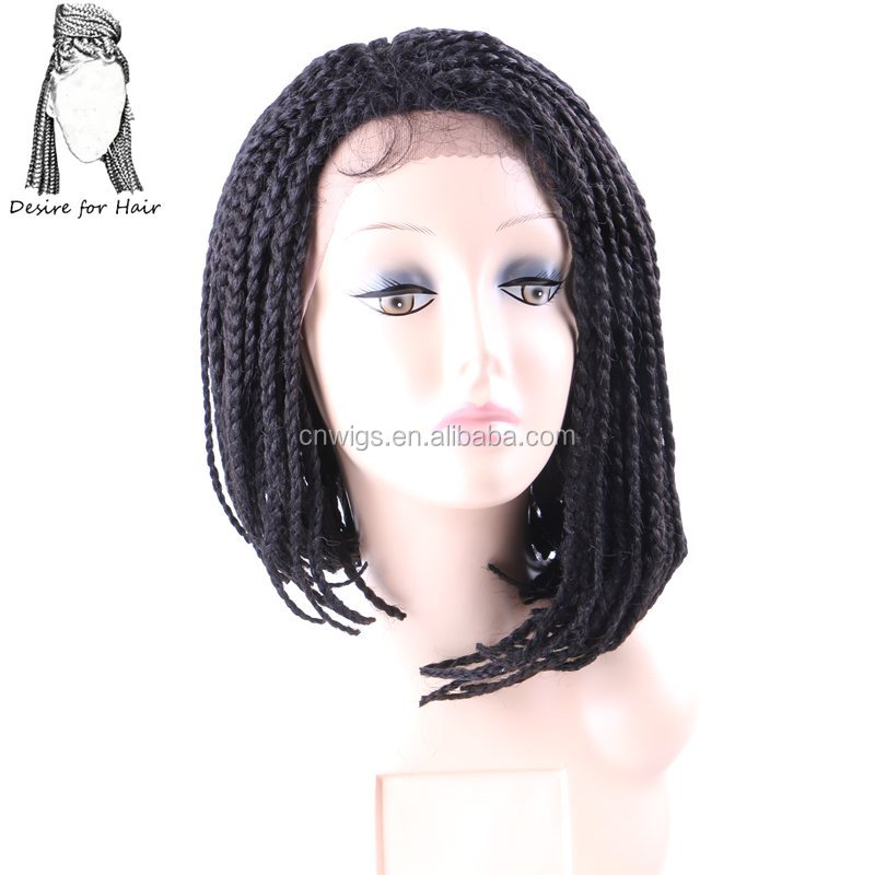 14inch 30cm ombre burgundy pre braided box braids Bob wig heat resistant synthetic lace front wigs with baby hair