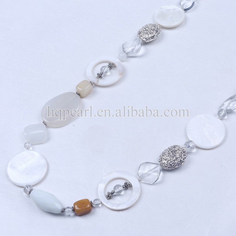 white shell stone necklace oversize jewelry
