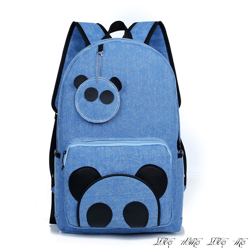 Get Quotations · Panda School Bag Cute Korean Cartoon Backpack College Wind  Canvas Travel Rucksack Student Trend Shoulders Panda dd8366f75a600