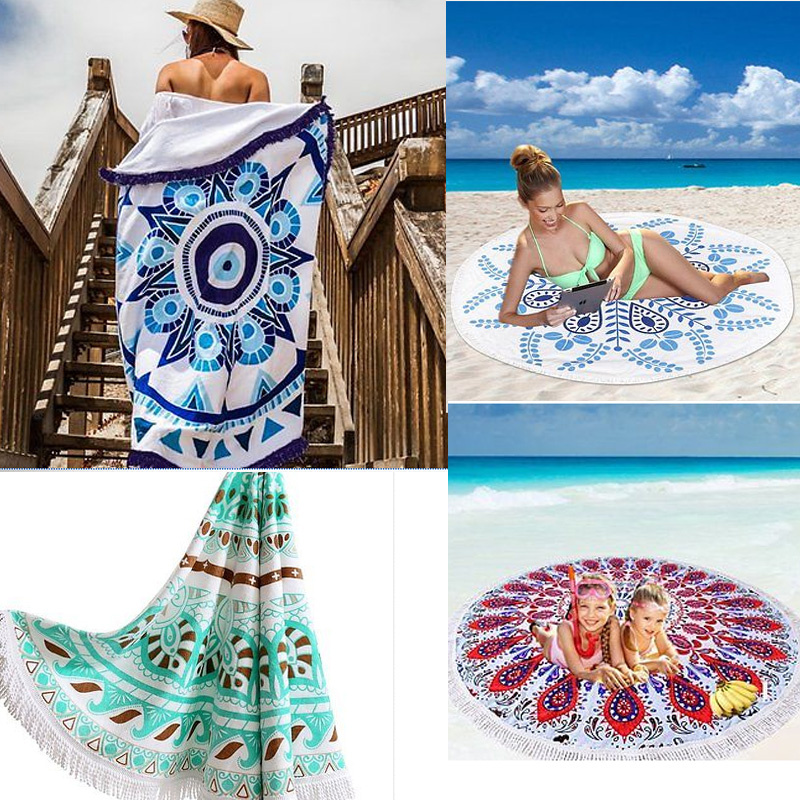 Vintage Round Indian Mandala Hippie Tapestry Wall Hanging Boho Summer Beach Towel Blanket Yoga Mat Tablecloth Home Decor 150cm
