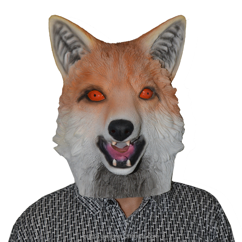 2017 New Design Latex Realistic Fox Animal Halloween Party Mask
