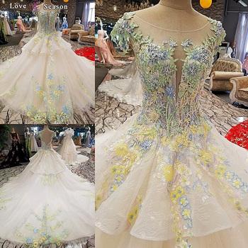 Ls00296 Sheer Top Lace Beaded Top Sheath Boat Neck Wedding Dresses ...
