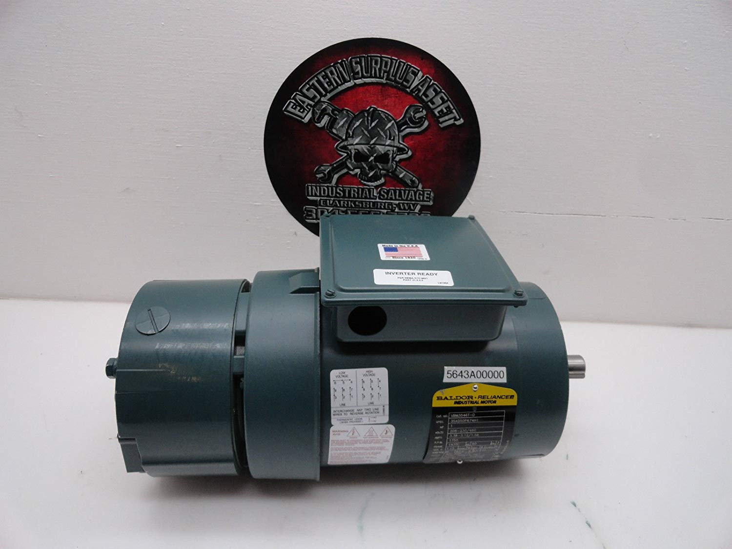 get quotations � dodge baldor vbm3546t-d 1hp 230/460 electric motor w/ dbsc  46bk brake