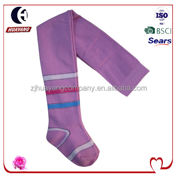 fanshion girls simple stripes pattern warm knitting pink tights