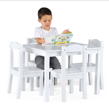 Awe Inspiring Kids Wood Table And 2 4 Chairs Set White Primary Collection Bedroom Children Study Table Chair View White Kids Children Study Table And Chair Se Lamtechconsult Wood Chair Design Ideas Lamtechconsultcom