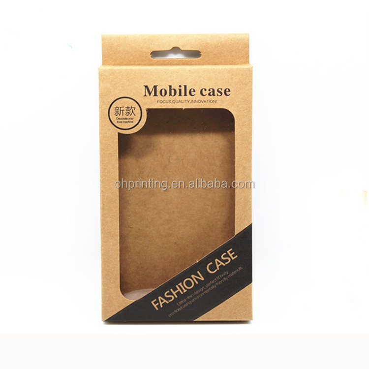 9*15.5*1.5cm Kraft Paper Mobile Phone Case Hang Hole Boxes Cell Phone Packaging Box For Phone