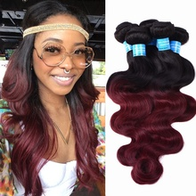 Wholesale Black Rose Two Tone Ombre Long Hair Peruvian Body Wave, Crochet Braids With Human Hair