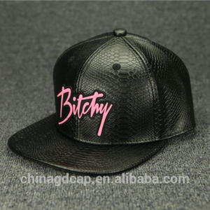 e40d3a717 Custom PVC Rubber Patch Design Your Own Black Leather Snapback Cap