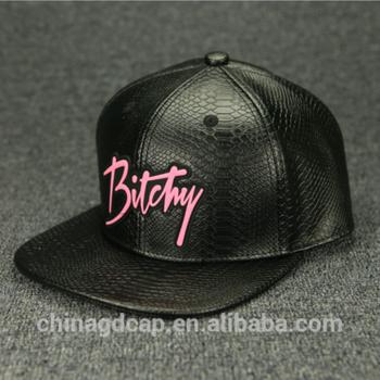 d1a4279cc9f3a Custom Pvc Rubber Patch Design Your Own Black Leather Snapback Cap ...