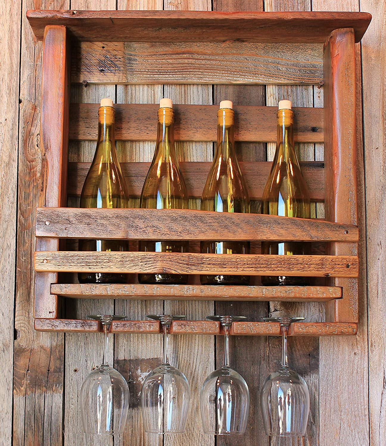 Rundown Rustics Wine Rack Storage Shelf Organizer Display Décor Organizer Cubby Rustic Reclaimed Recycled Upcycled Pallet Barn Wood Bar 4 Bottles Glasses Upright Wall Mount