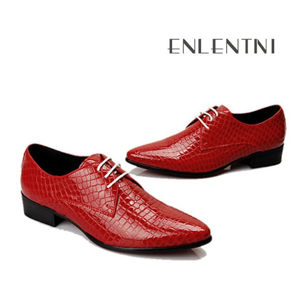 Fashion Oxfords Men Red Leather Dress Shoes - Buy Mens Red Leather ...