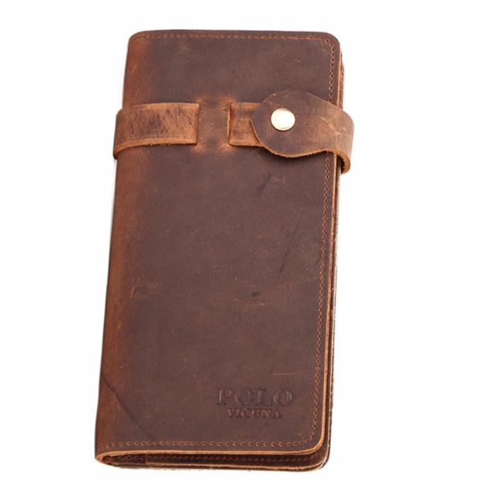 f4bb3152f Vicuña POLO minimalista logotipo personalizado monedero de cuero genuino  Color marrón de la moda de los